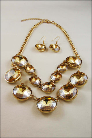 Crystal Layered Bib Necklace Set
