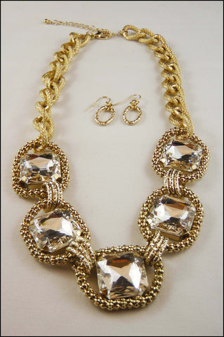 Square Crystal Chain Necklace  Set
