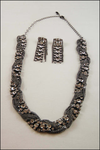 Inter-twined Metal Chain with Pave Stone Collar Set