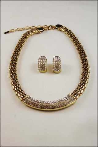 Rhinestone Box Chain Necklace  Set