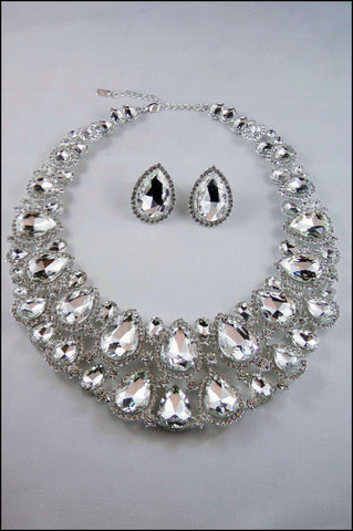 Statement Crystal  Collar Necklace Set