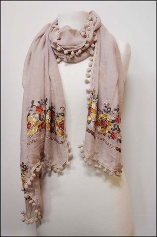 Floral Embroidered Oblong Scarf with Pompoms