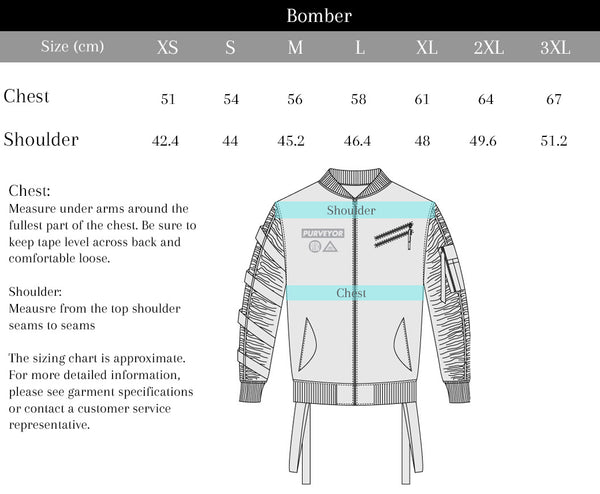 Purveyor Bomber Jacket Size Chart