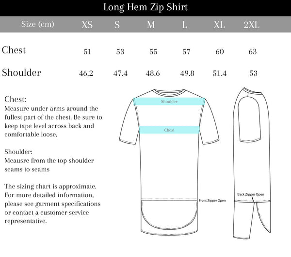 Purveyor Long Hem Zip Shirt Size Chart