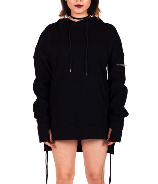 Black West Side-lace Extended Hoodie - W
