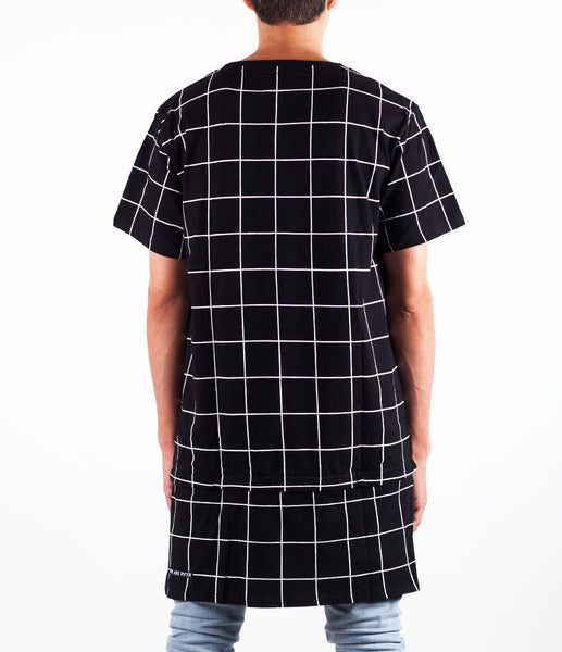 Black w/ White Grid Elon Extended Zip-Hem Shirt