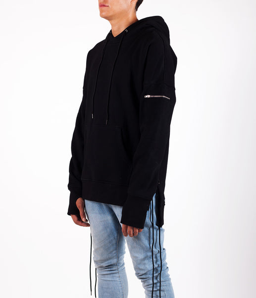 Black West Side-lace Extended Hoodie