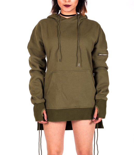 Olive West Side-lace Extended Hoodie - W