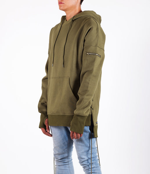 Olive West Side-lace Extended Hoodie
