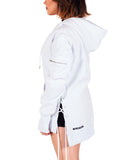 White West Side-lace Extended Hoodie - W