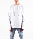 White West Side-lace Extended Hoodie