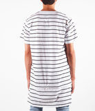 White w/ Black Stripe Elon Extended Zip-Hem Shirt