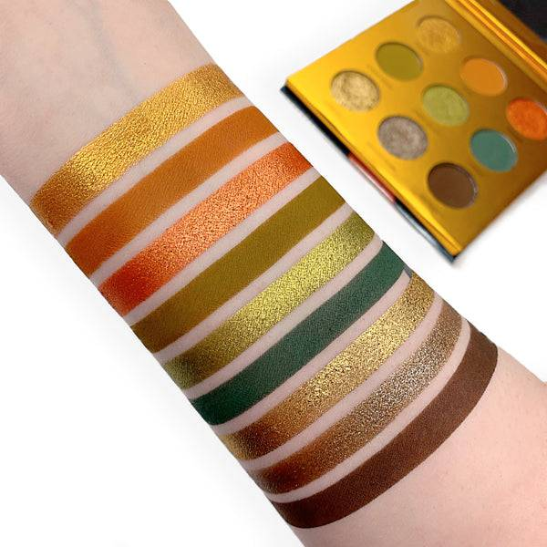 Safari Raine Eyeshadow Palette swatched on dark skin - by Coloured Raine Cosmetics