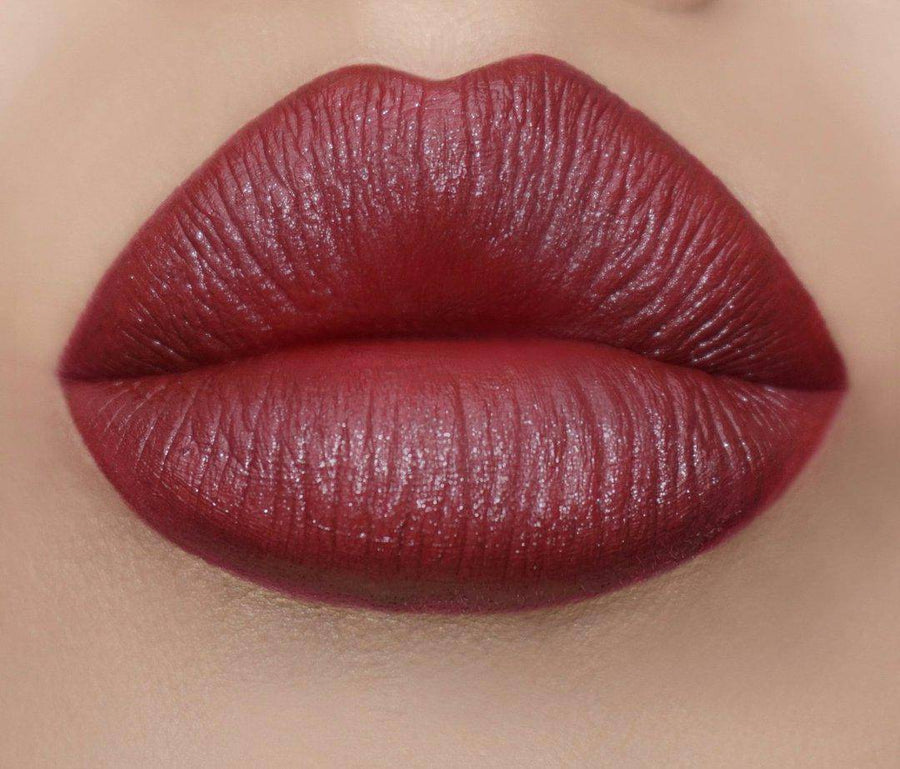 Cranberry red lipstick - Affluence Satin Lipstick by Coloured Raine Cosmetics