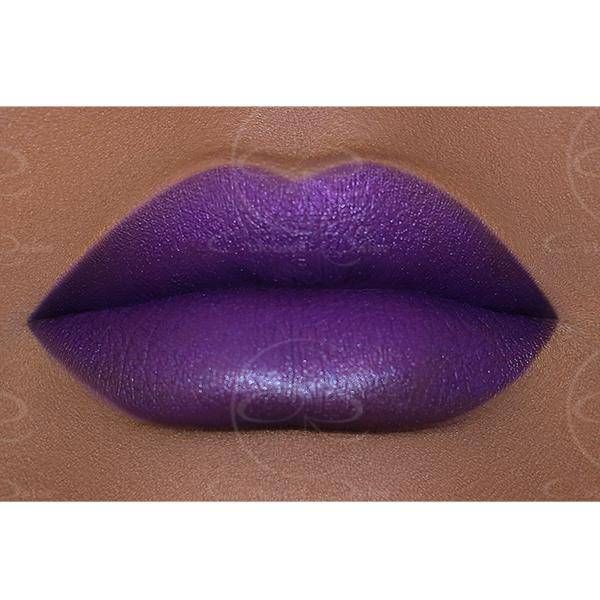 A classic purple lipstick that will not clock out early - Arabian Night Satin Lipstick by Coloured Raine Cosmetics