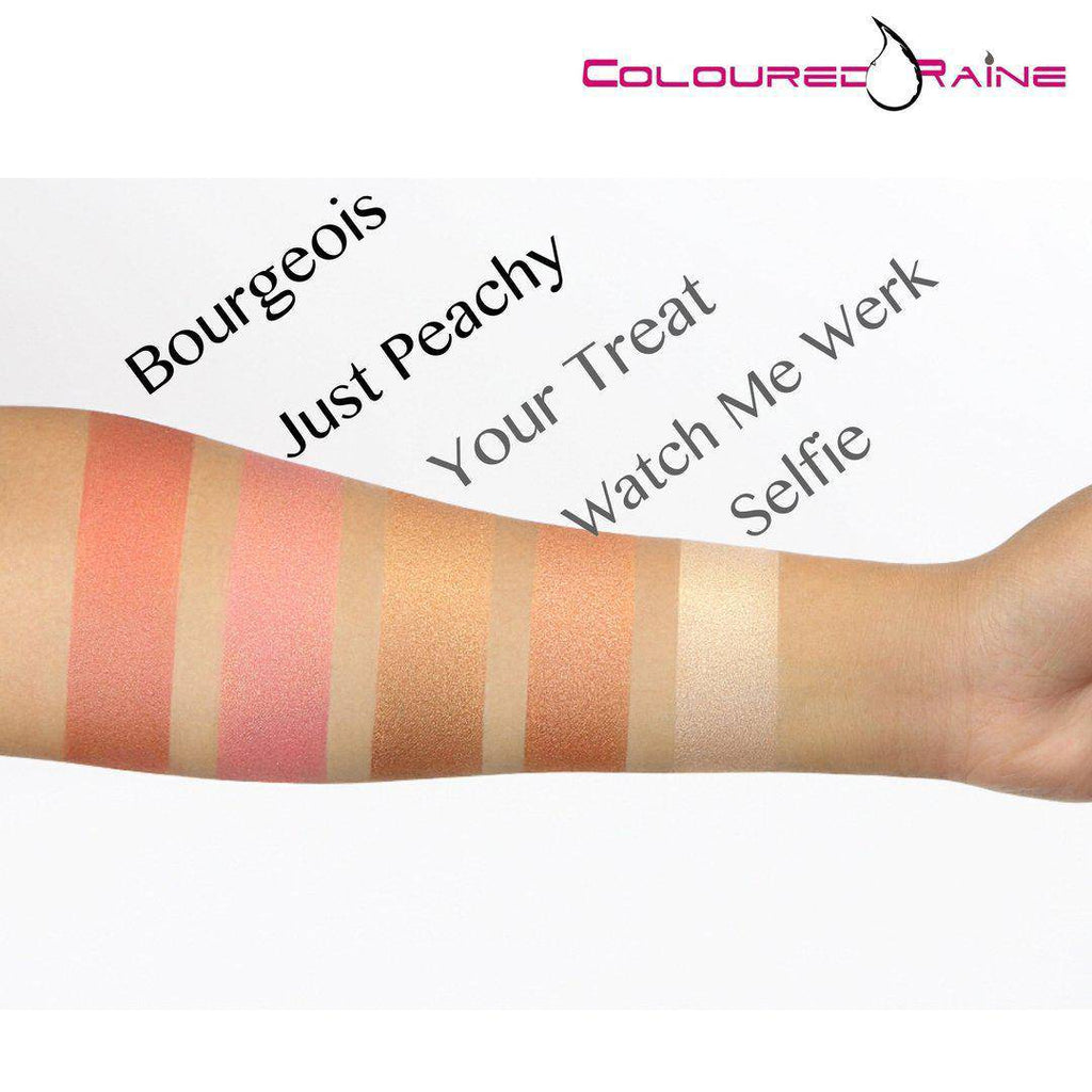 Coloured Raine focal point glowlighters swatched on medium skin