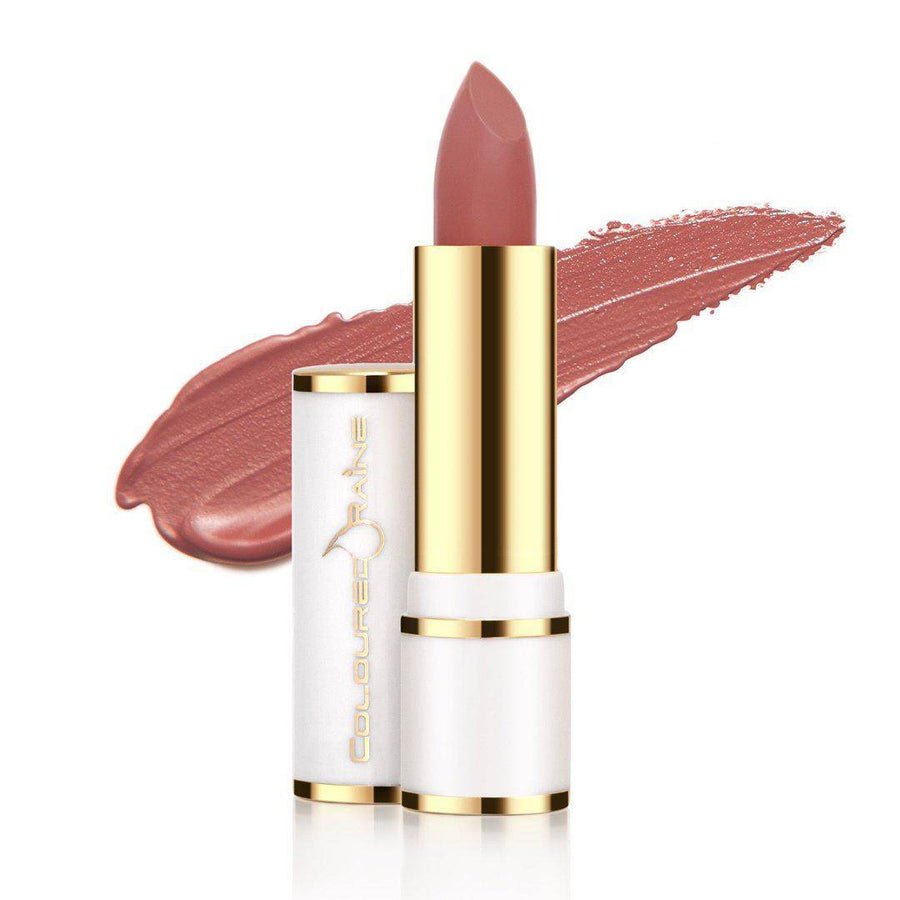 A beautiful mauve pink lipstick with lavender undertones - Charmed Satin Lipstick by Coloured Raine Cosmetics