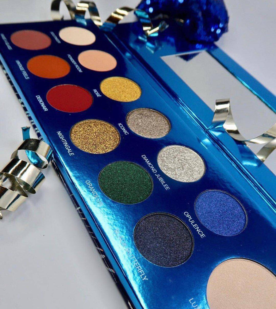 Cheers To The Beauty™ up close -  eyeshadow and highlighter palette by Coloured Raine Cosmetics