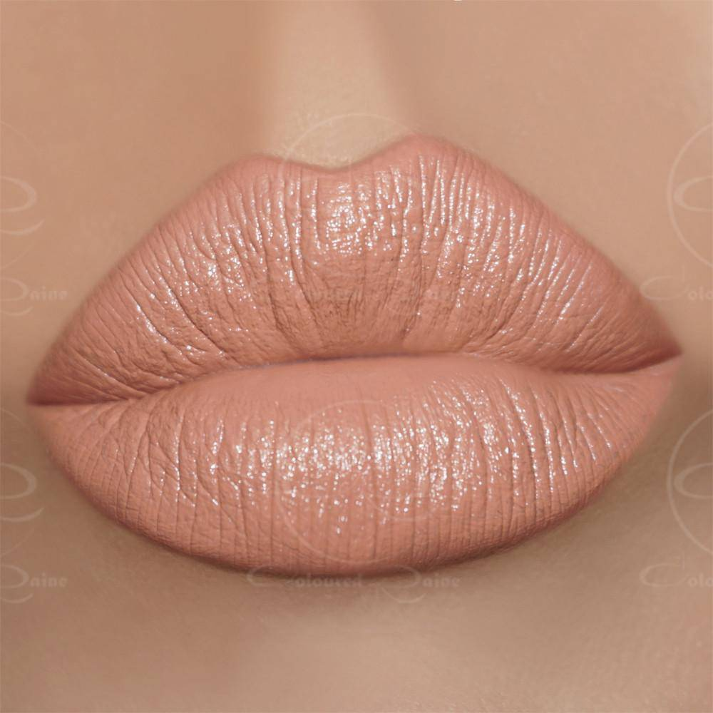 The perfect nude lipstick with peach undertones - Empathy Satin Lipstick by Coloured Raine Cosmetics