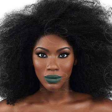 Our hunter green liquid lipstick dries matte