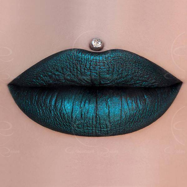 Jade metallic green liquid lipstick with blue undertones by Coloured Raine Cosmetics