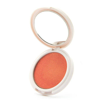 Just Peachy - Peach highlighter with gold undertones Coloured Raine Cosmetics. In a mirrored, circular container.