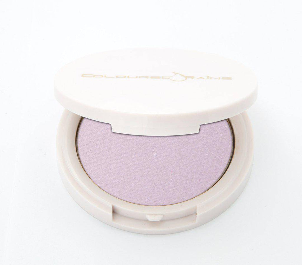 Lavender Dreams - lavender highlighter half-open, in a white, circular, mirrored container.