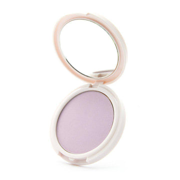 Lavender Dreams - lavender highlighter open, in a white, circular, mirrored container.