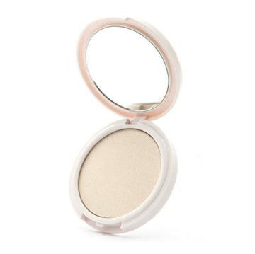 Luxurious Bling translucent highlighter by Coloured Raine Cosmetics. Open, in a white, circular, mirrored container.