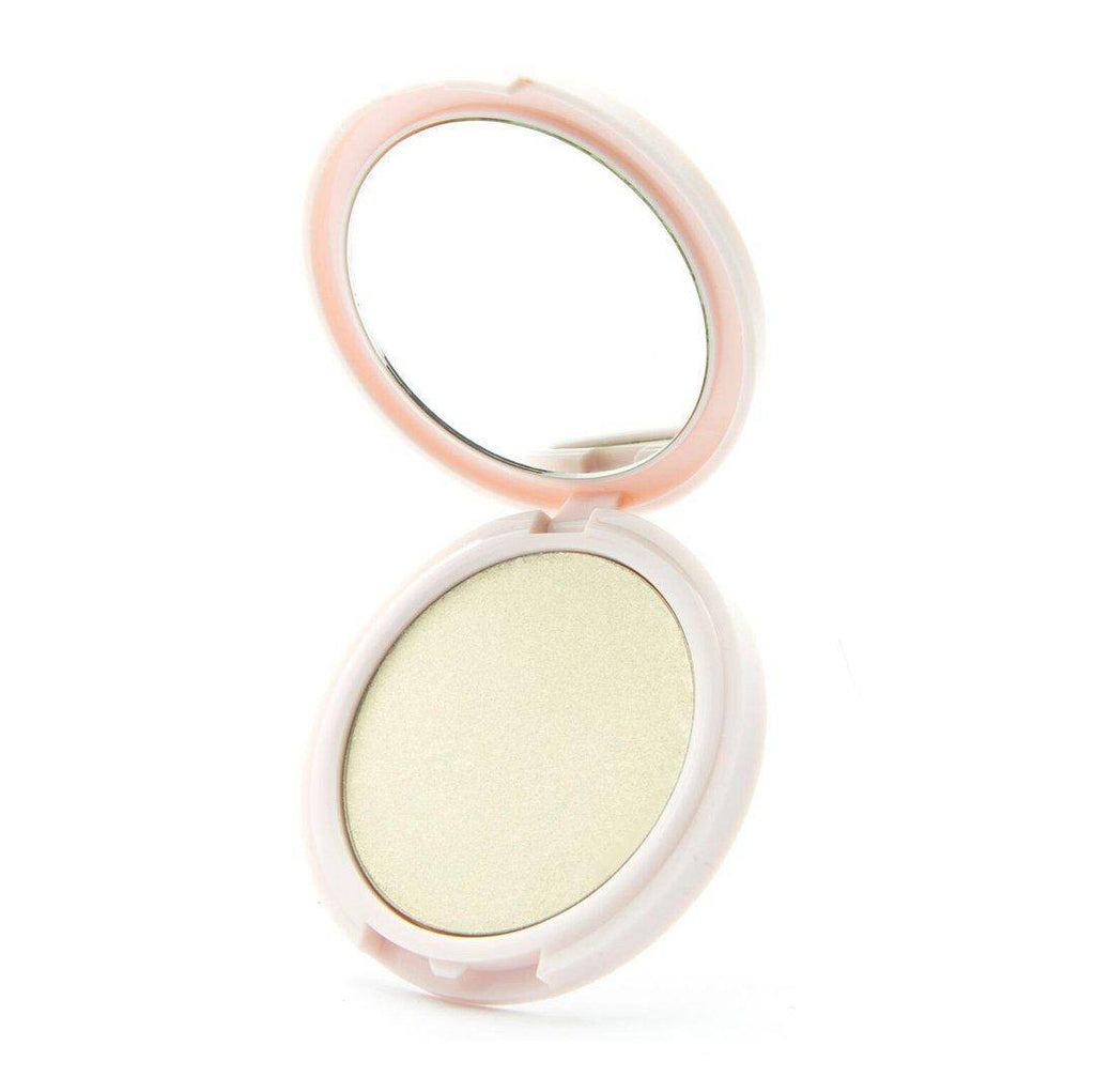 No Flash Needed - translucent highlighter by Coloured Raine Cosmetics. Open, in a white, circular, mirrored container.