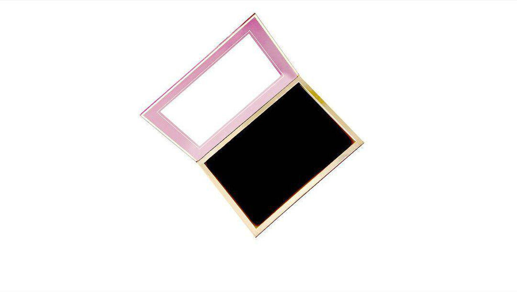 Pink - 96 Pan Pro Mirrored Magnetic Palette open, showing a very large mirror, and gold-framed black magnetic bed.