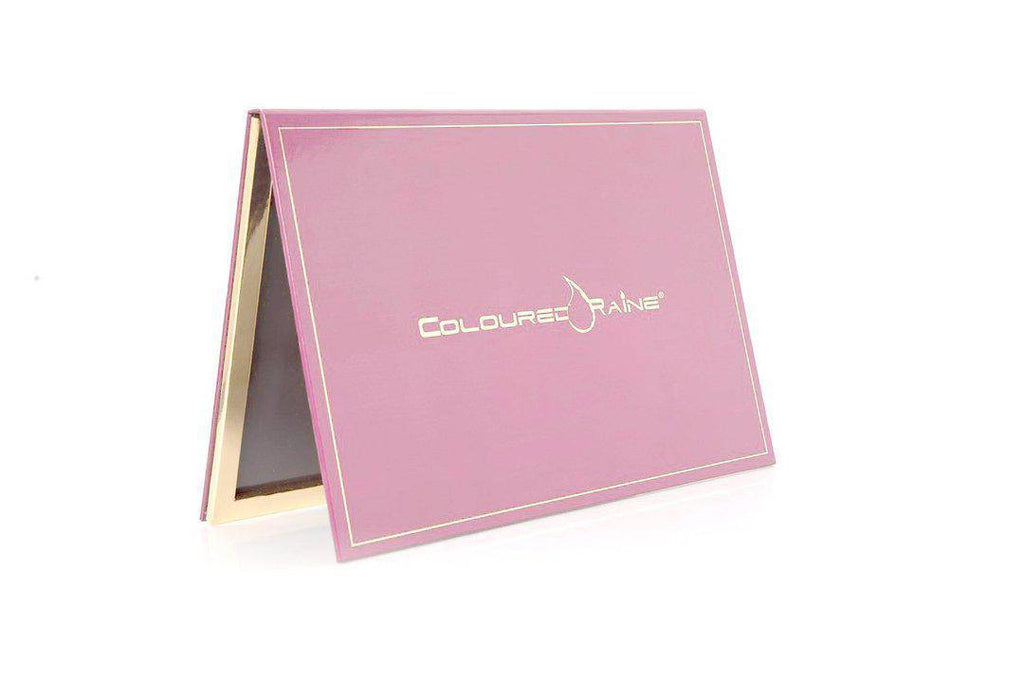Pink - 96 Pan Pro Mirrored Magnetic Palette. Light pink with gold Coloured Raine logo and gold-framed interior