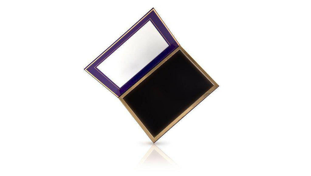 Purple - 96 Pan Pro Mirrored Magnetic Palette open, showing a very large mirror, and gold-framed black magnetic bed.