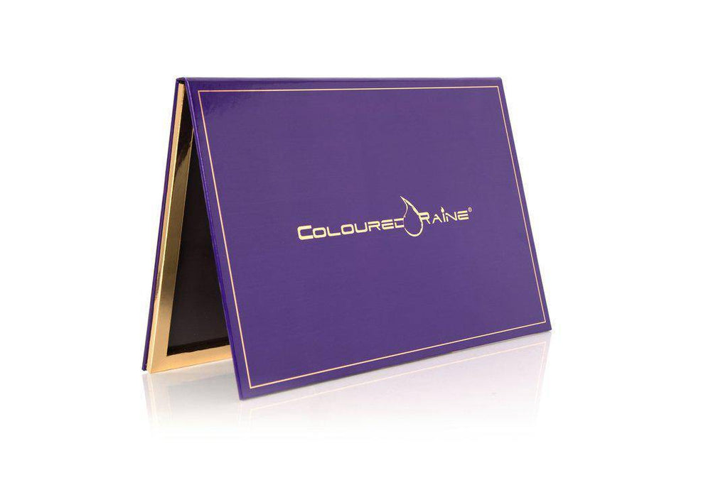 Purple - 96 Pan Pro Mirrored Magnetic Palette -  deep purple with gold Coloured Raine logo and gold-framed interior