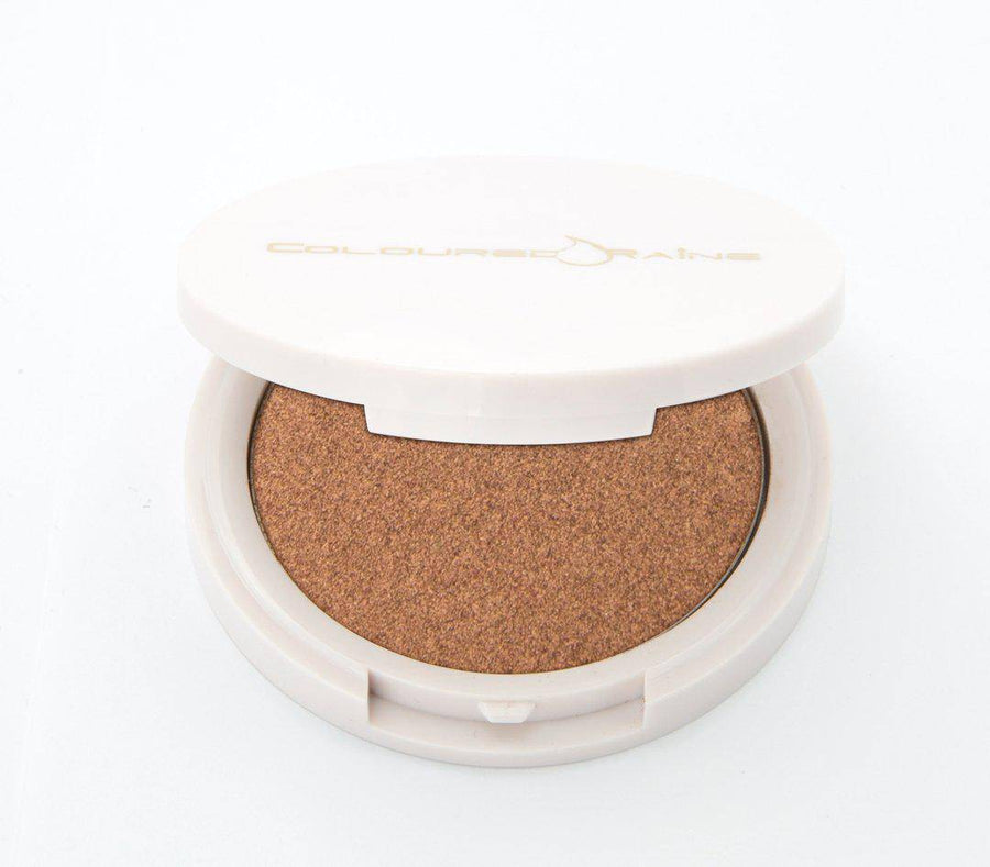 Watch Me Werk - Copper highlighter by Coloured Raine Cosmetics. Closed, in a white container with gold Coloured Raine logo.