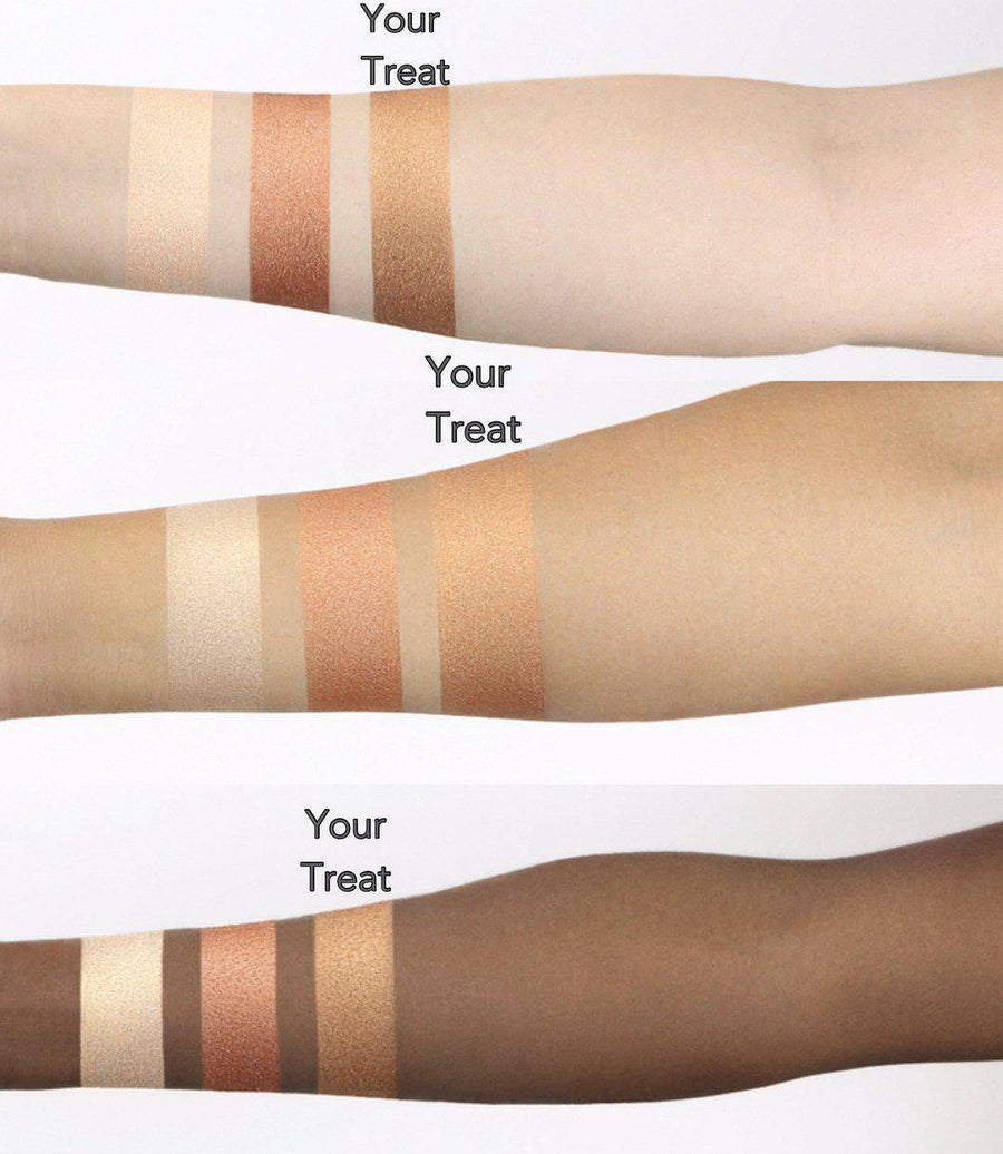 Coloured Raine Focal Point Glowlighters™ swatched on light, medium, and dark skin