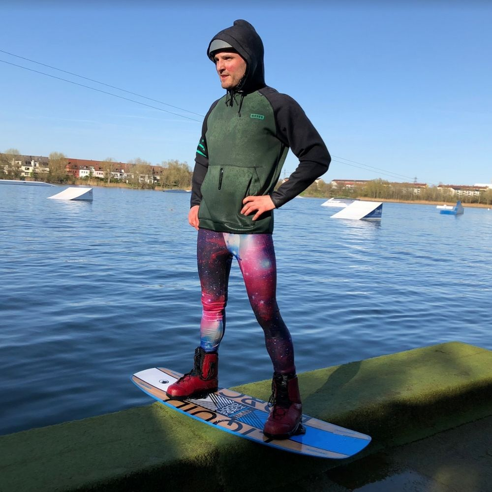 Wake Boarding in mens tights