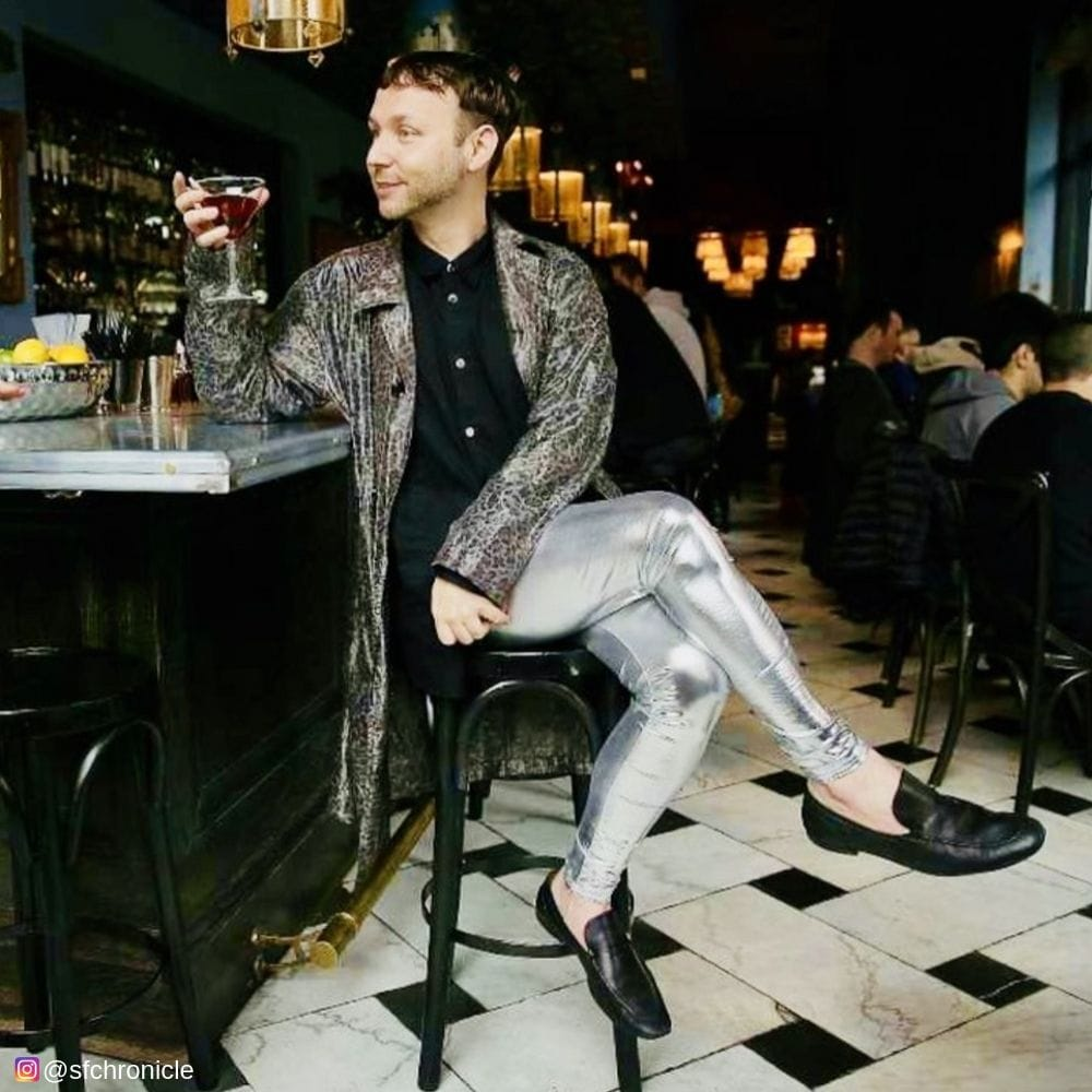 Ordering Cocktails in silver bullet mens metallic leggings