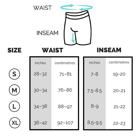 Kapow Compression Shorts Longer Leg Sizing Chart