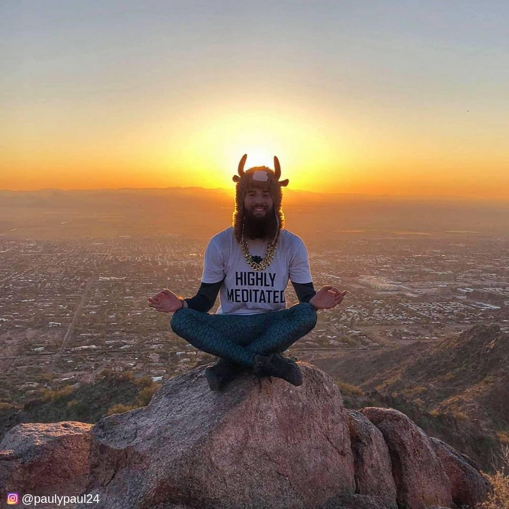 Meditating On a Mountaintop in male leggings