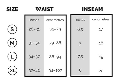 Compression Shorts Performance Sizing Chart – clean