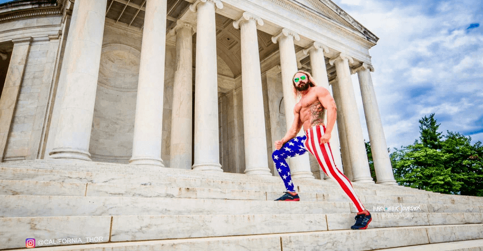 bodybuilder wearing uncle sam american flag mens leggings
