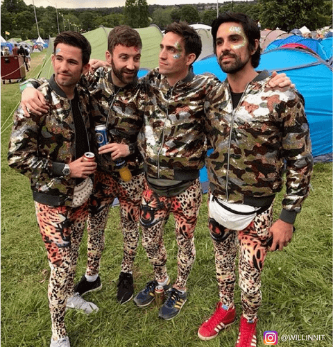 festival crew in cammo jackets and tiger print mens leggings