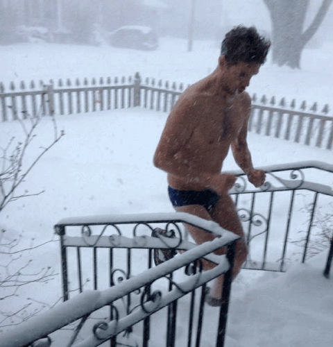 male leggings artist joseph ferm in speedos in snow