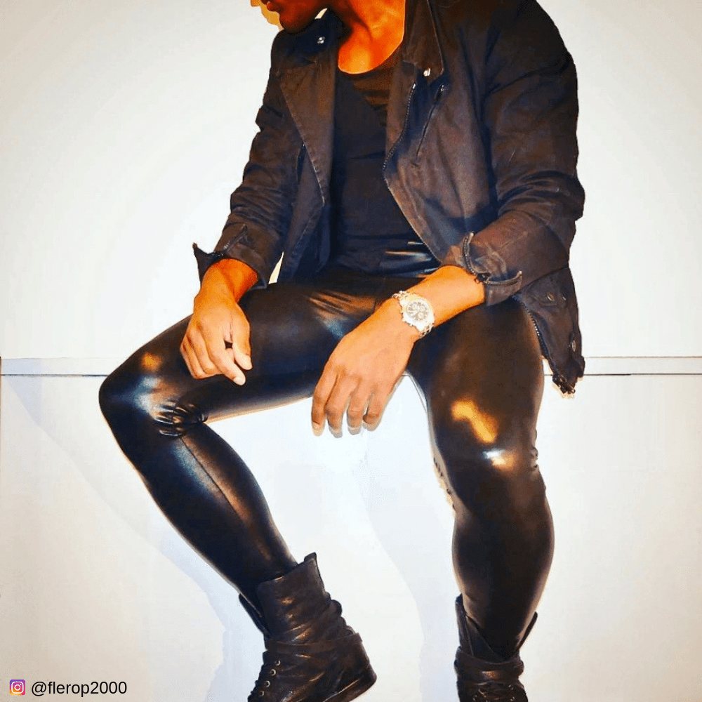 man in all black wears rock and roll style leather leggings