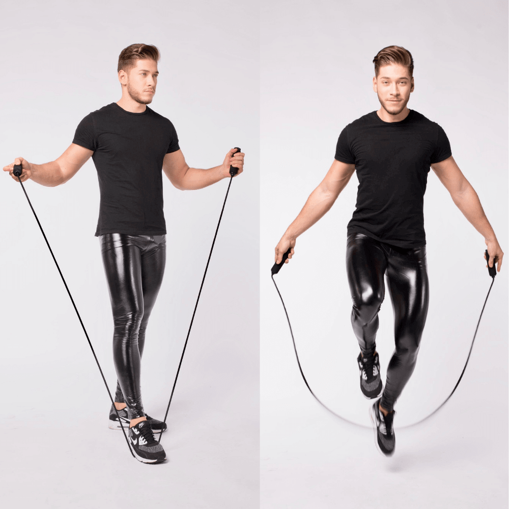 man in studio skipping rope in kapow black wet look leggings