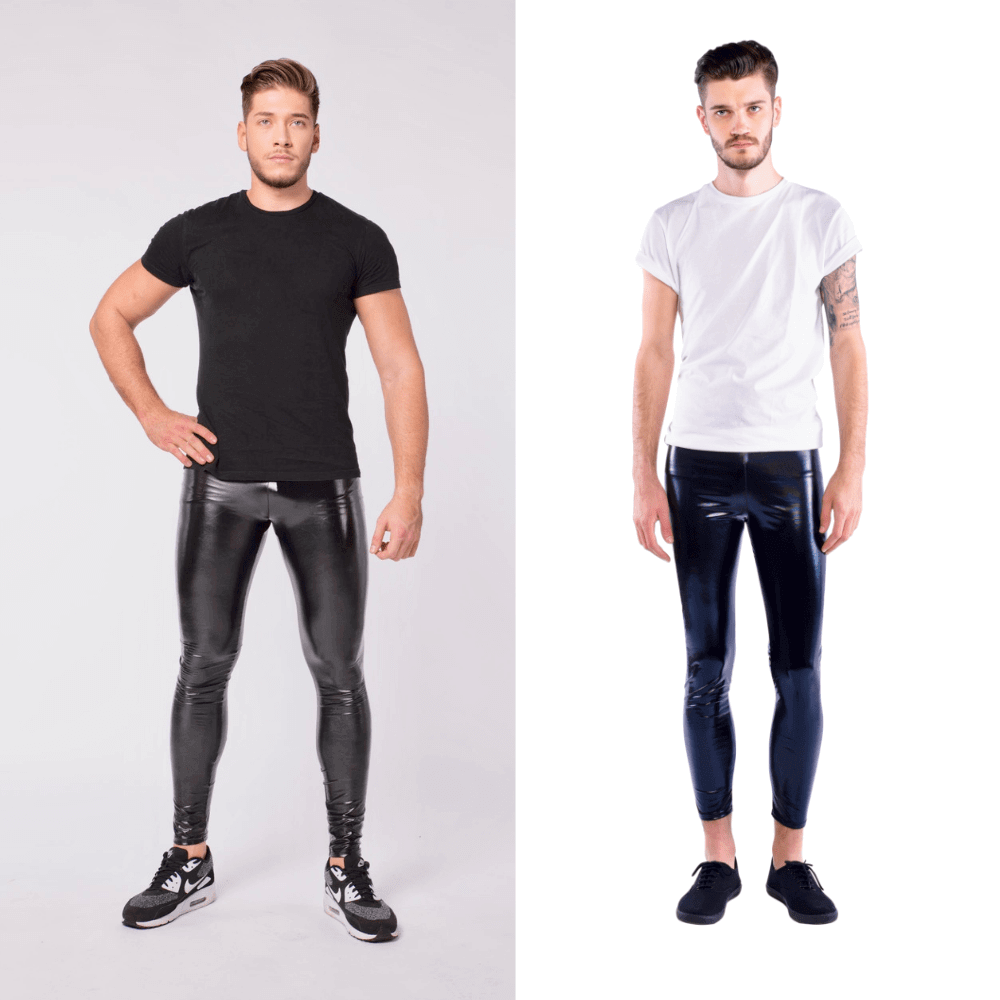 two men side by side in black shiny meggings