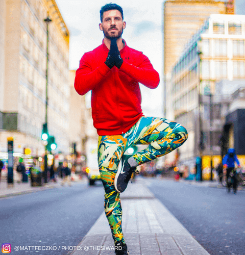 yoga instructor in graffiti mens leggings london