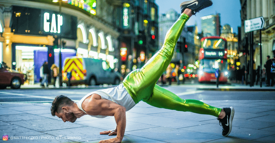 yoga instructor matt feczko in metallic green leggings