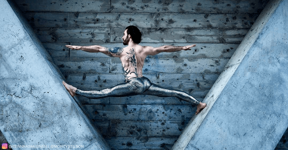 yogi balancing between beams in silver snakeskin mens leggings